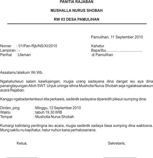 Contoh Surat Resmi Dan Tidak Resmi Bahasa Sunda
